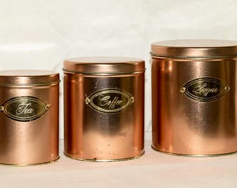 Vintage Metal Canister Set, Copper Colored Canister Set, Retro Canister Set, Ballonof Canisters