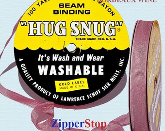 "PINK ASTER - Hug Snug Seam Binding - 100 yard roll 1/2"" Wide - 100% Woven-Edge Rayon - Sewing Trim & Craft Supply - Wholesale Ribbon"