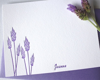 Personalized Letterpress Stationery Lavender Blossoms