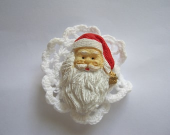 Lace Santa Brooch Jewelry Christmas Holiday  Woman Gift idea Accessories