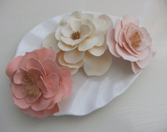 Wild Roses Gum Paste Edible Rose Gold - Creamy White - Soft Pink Gold Centres Set of 3