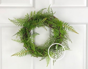 Small Wreath, 10 inch Wreath, Fern Wreath, Greenery Wreath, Year Round Wreath, Window Wreath, Wreath Street, Wall Wreath, Summer Wreath