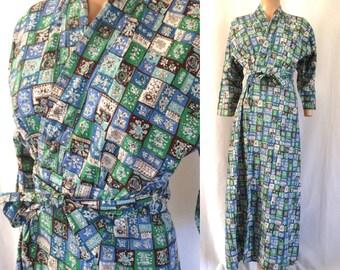 1940's Women's Cotton Novelty Print Wrap Robe Sz. M
