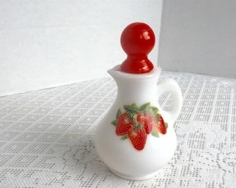 Vintage Avon Strawberries and Cream Collectible Milk Glass Pitcher