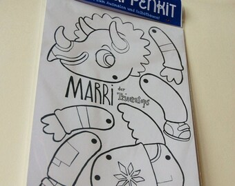 Marri the triceratops - paper doll diy kit - coloring activity for all ages, kids and adults -  jumping jack