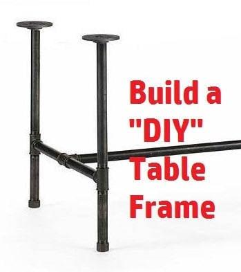 Black Pipe Table Frame/ TABLE LEGS/Table Base, DIY Parts Kit, 1 x 24 ...