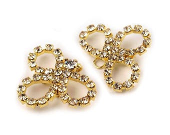 Hook clasp closure gold Crystal rhinestone