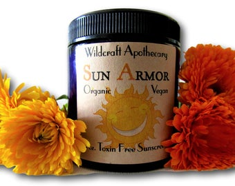 Natural Sunblock Sunscreen Organic + Vegan Sun Armor with Aloe, Safe for Kids, Ingredients You Trust, Skin Moisturizing Protection, Vit E