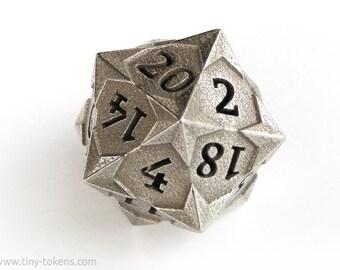 Steel D20 'Starry' - Balanced twenty sided metal gaming die