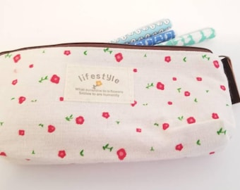 """Stationery Red Flowers Pencil or Pen case. Cloth pencil holder. 7x4"""". School supplies."""