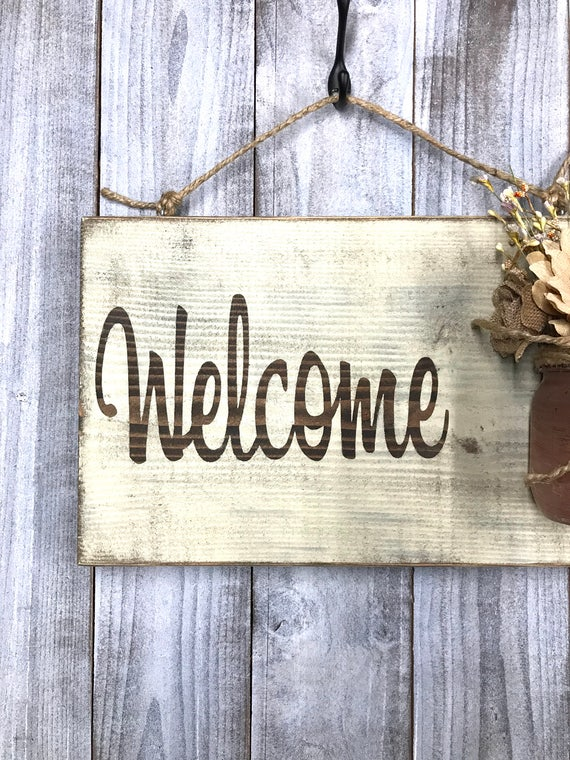 Outdoor hanging welcome signs rustic country distressed