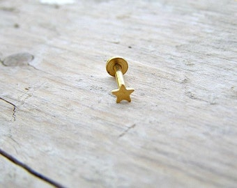 Tragus Stud , Cartliage Earring ,  Helix Piercing , Gold Star 16ga Stud , Single