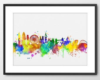 London Skyline Print, England Print London Watercolor Painting London Art London Gift Home Decor London Colorful London Poster City (A090CA)