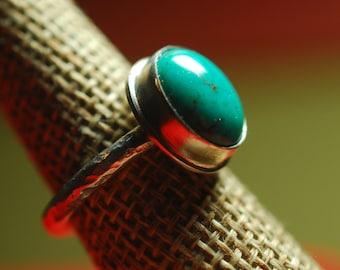 Turquoise ring 11-5, Stocking Stuffer, Gift for Her, Artisan ring,  Sterling Silver ring