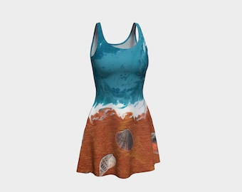 Sea Shells on the Shore - Fine Art All Over Print Flare Dress