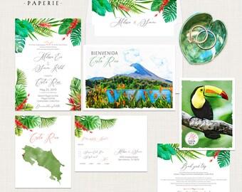 Costa Rica Tropical Destination wedding invitation Beach illustrated Caribbean Latin America South America Palm Jungle Deposit Payment