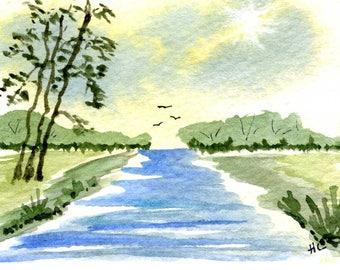 Original Watercolor ACEO Art Card, Summer Trees, River, Birds, Country, Quiet, OOAK Painting Miniature watercolor