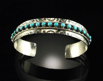 Zuni Sterling and Turquoise Bracelet by JP Ukestine