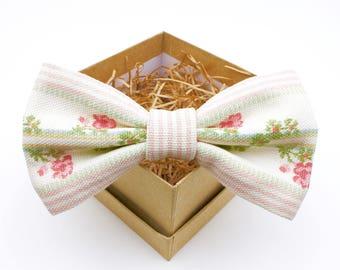 Pink and Cream Floral Bow Tie - Mens Pre-Tied Bow Tie - Womens Pre-Tied Bow Tie - Vintage Bow Tie - Southern Wedding Bow Tie