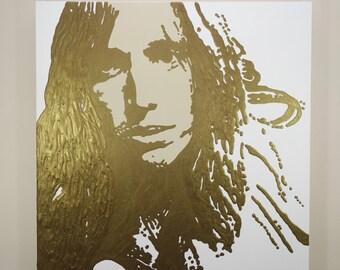 Tom Petty Painting (24x24) Pop Art, Gold Painting