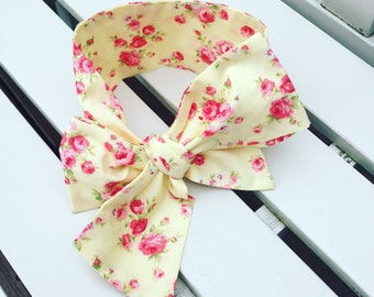 Girl's Headwrap Big Bow Cotton Headband hair accessories turban hair wrap in lemon yellow and red rose roses floral cotton fabric