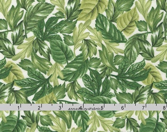 Green Leaves Fabric, Timeless Treasures Garden Journal C5447 Ruth Levinson Designs, Packed Green Leaves Quilt Fabric, Cotton Yardage