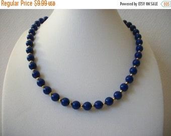 ON SALE Vintage MONET Dainty Blue Gold Necklace 112816