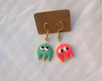Mini pacman ghost earrings
