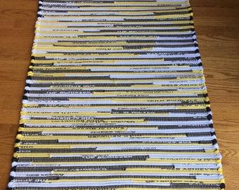 """GORGEOUS!! Black Yellow White rug, Black Yellow White runner, cotton runner, cotton rug, 50 1/4"""" x 28"""" rug, long rug,"""