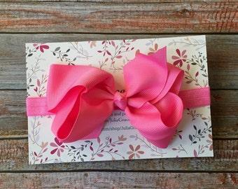 Pink Big Bow Headband, Bow Headband, Pink Headband, Newborn Hair Bow, Infant Headband, Baby Headband, Baby Girl Headband, Newborn Headband