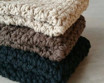 cotton crochet dishcloth black, brown and jute - set of 3