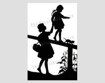 Mother and Daughter Pattern, Silhouette Cross Stitch, Children Cross Stitch, Needlepoint, Cross Stitch from NewYorkNeedleworks on Etsy