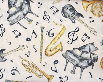 BTY Play Your Song MUSICAL Instuments on Ecru Print 100% Cotton Quilt Crafting WILMINGTON Prints Fabric by the Yard