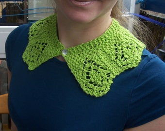Hand Knitted Detachable Collar Necklace Cotton Buttoned