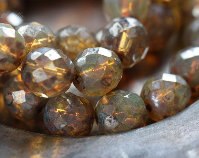 CASHMERE .. 6 Picasso Czech Opal Glass Beads 11mm (2306-6)