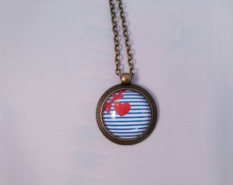 Brass glass cabochon necklace bronze Valentine heart retro vintage sailor