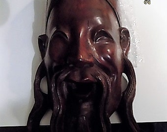 Rare Chinese carved wall mask Rosewood