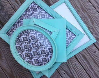 Key West Blue Frame Set of 5 / Oval & Mirror / Shabby Chic / Upcycled Painted Frames / Gallery Wall / Home Decor (CB11)