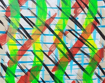 """Brown, Red, Green, Yellow and Black Original Acrylic Abstract Painting on Canvas """"Series 5 LXXXI"""" Home Decor, Wall Art, Wall Hanging"""