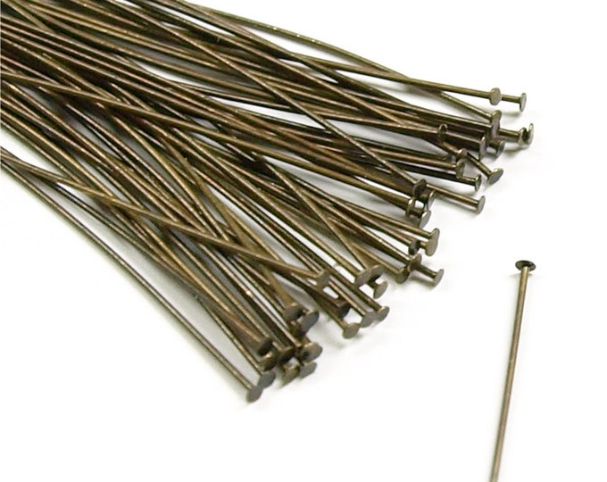 Head Pin, 2 in/24 ga, Antique Brass - 50 Pieces (HPBAB-5024)