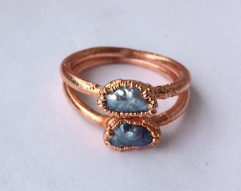 Vintage Freshwater Biwa Rice Pearl Ring | Electroformed Copper Jewelry | Handmade