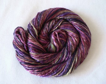 Handspun Double Ply Pure Mulberry Silk Yarn Hand Dyed - Tiffany 91 yards