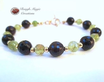 Garnet Gemstone Bracelet, January Birthstone, Dark Red Stone, Green Grossular Garnet, Semi Precious Gems, Gold Beads, Toggle Clasp B149