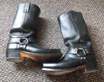 Vintage Frye Harness Boots LEATHER SOLES and HEELS Motorcycle Boots Biker Boots Black Label
