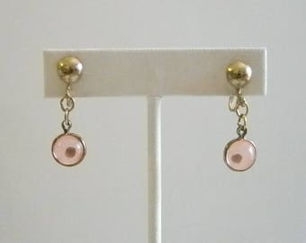 Vintage Pink Beaded Mustard Seed Screw Back Earrings