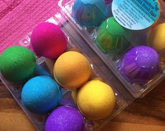 Jumbo Rainbow Sparkle Egg Bath Bomb 1/2 Half Dozen Set Easter Gift Set Bath Bombs  Hunt- Mother's Day Gift