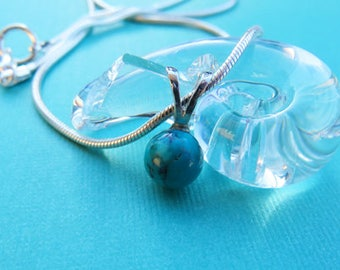 Turquoise Necklace - Turquoise Gem Ball Necklace - Turquoise & Sterling Silver Necklace