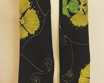 Lehua Mamo Love! Hand Painted Silk Crepe de Chine Scarf - 14x72in