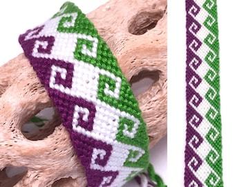 Friendship bracelet - greek wave - wide - embroidery floss - tidal - large - knotted - handmade - macrame - woven - string - purple - green