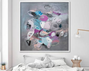 Extra large wall art Large wall Art Pink Grey wall art fine art print large art abstract art print by Duealberi